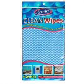 CLEAN WIPES - BULK or 4 Cloths in PRINTED PACK -