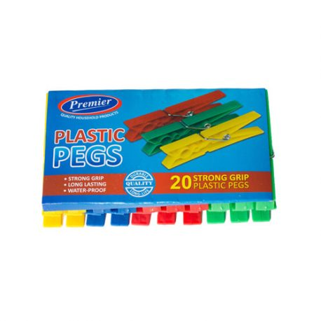 premier housewares PLASTIC CLOTHES PEGS - 20 PACK - assorted colours - Product Code 197-20