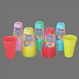 PLASTIC DISPOSABLE CUPS - ASSORTED COLOURS - 300 ml