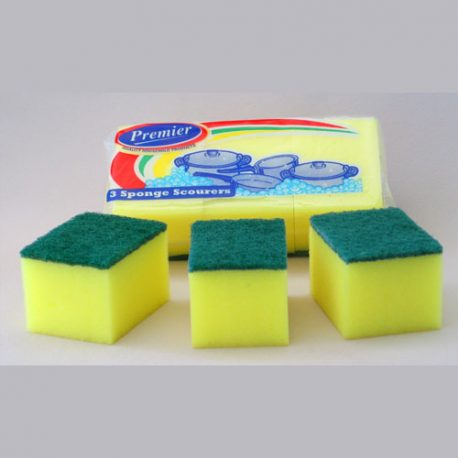 SPONGE SCOURERS - 3 PACK OR BULK - Product Code 8812