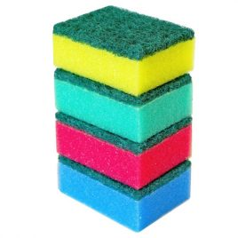 SPONGE SCOURERS ASSORTED COLOURS - 4 PACK AND BULK - Product Code 8808
